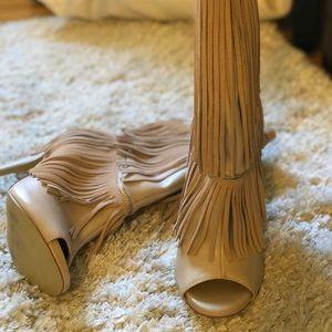 Peep toe fringe boots